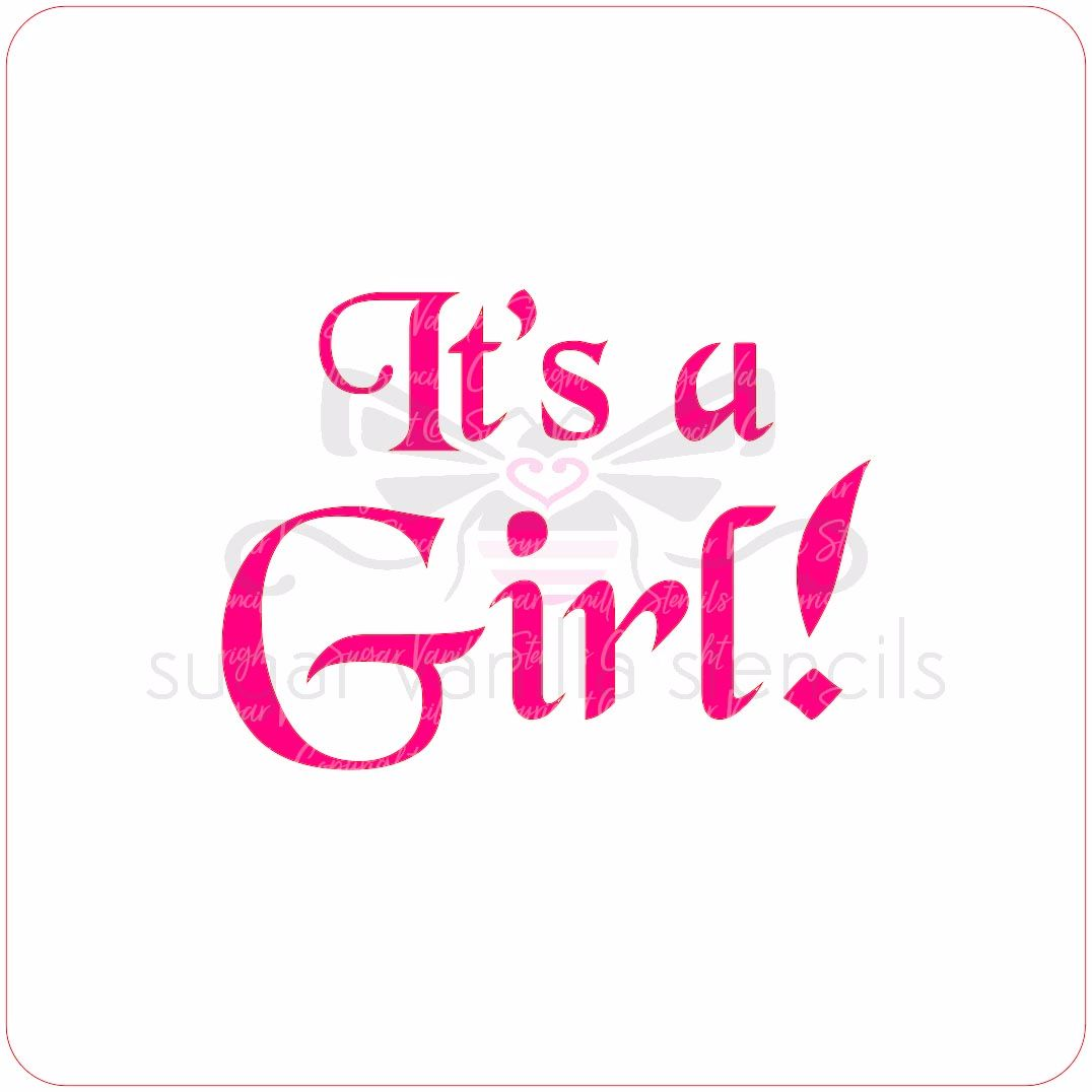 It's a Girl Cupcake Stencil