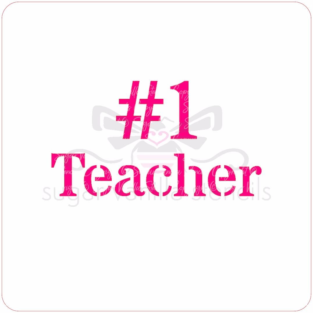 No.1 Teacher Cupcake Stencil