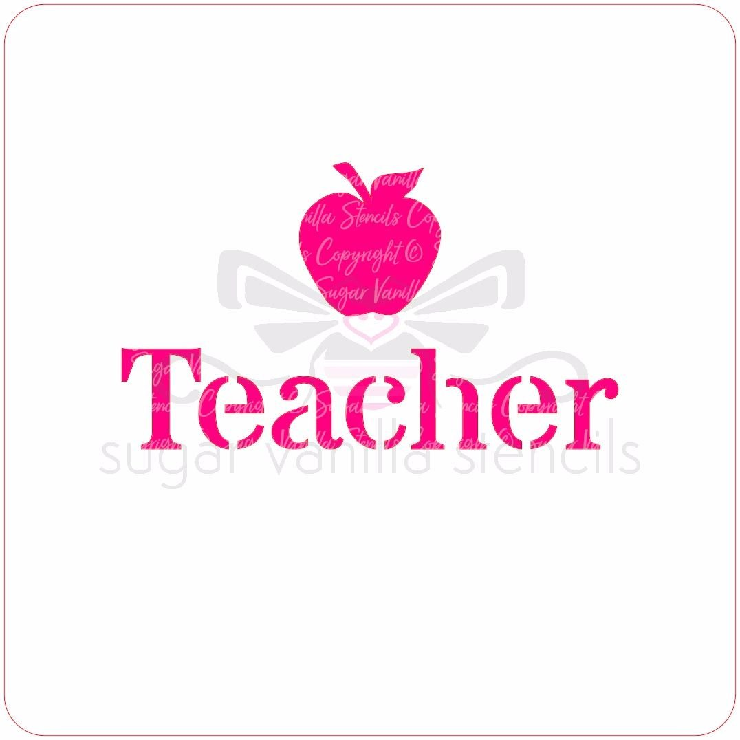 Teacher Cupcake Stencil (with apple)