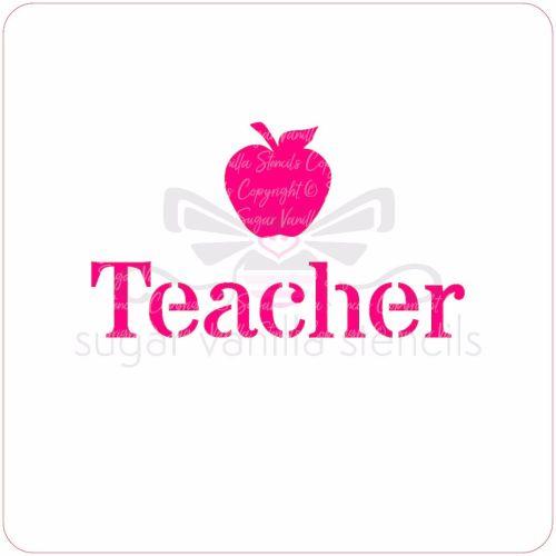 Teacher Cupcake Stencil (with apple)