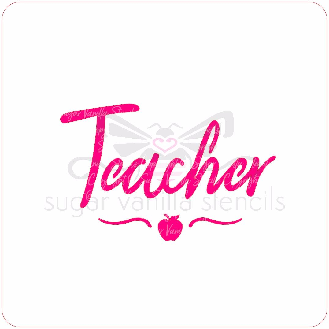 Teacher Cupcake Stencil (with apple & swirl)