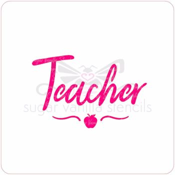 Teacher Cupcake Stencil (with apple & swirl)