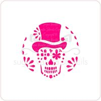 Sugar Skull in Top Hat Cupcake Stencil
