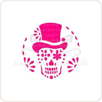 Sugar Skull in Top Hat Cupcake Stencil