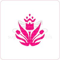 Crowned Tulip Cupcake Stencil