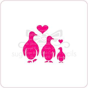 Penguin Family Cupcake Stencil
