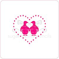 Penguin Heart Cupcake Stencil
