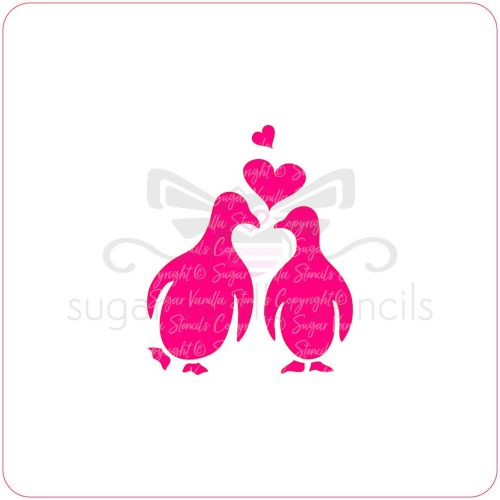Penguin Kiss Cupcake Stencil