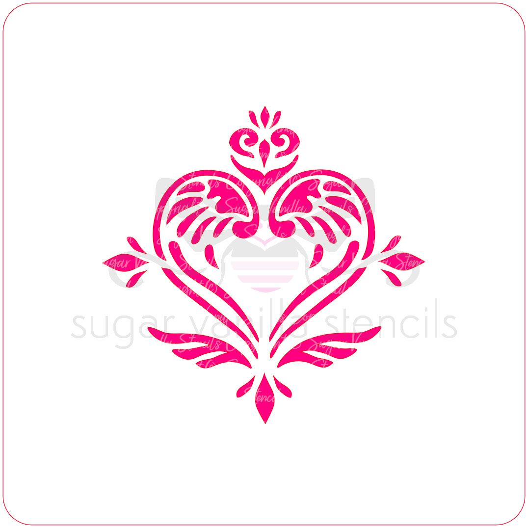 Angel Damask Cupcake Stencil (Winged Heart)