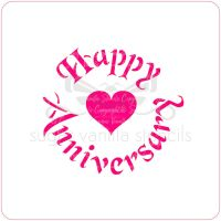 Happy Anniversary (with Heart) Cupcake Stencil