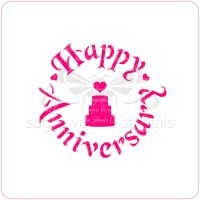 Happy Anniversary (with Wedding Cake) Cupcake Stencil