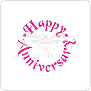 Happy Anniversary Cupcake Stencil