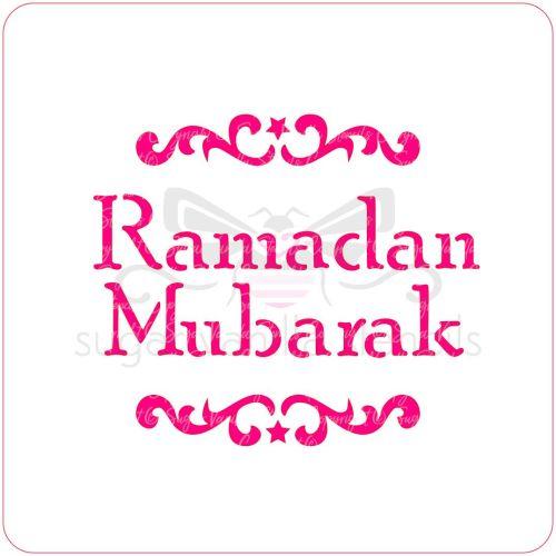 Ramadan Mubarak Cupcake Stencil (scrolls)