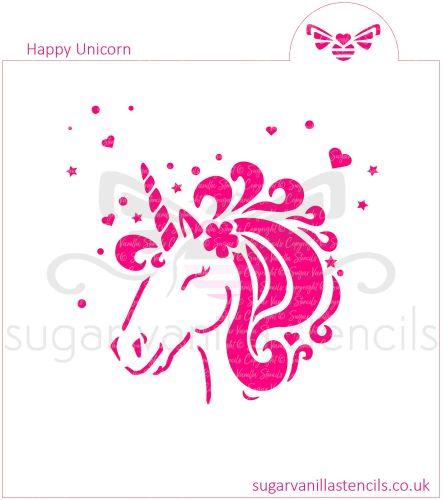 Happy Unicorn Cookie Stencil