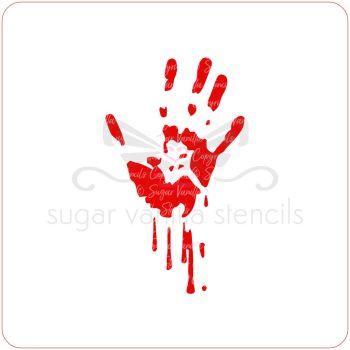 Bloody Hand Cupcake Stencil