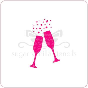 Champagne Glasses Cupcake Stencil