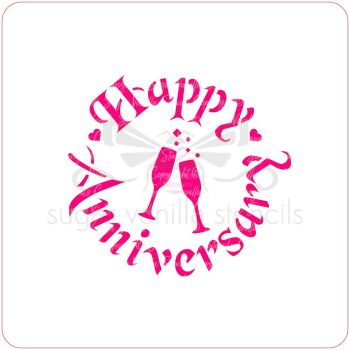 Happy Anniversary (with Champagne) Cupcake Stencil