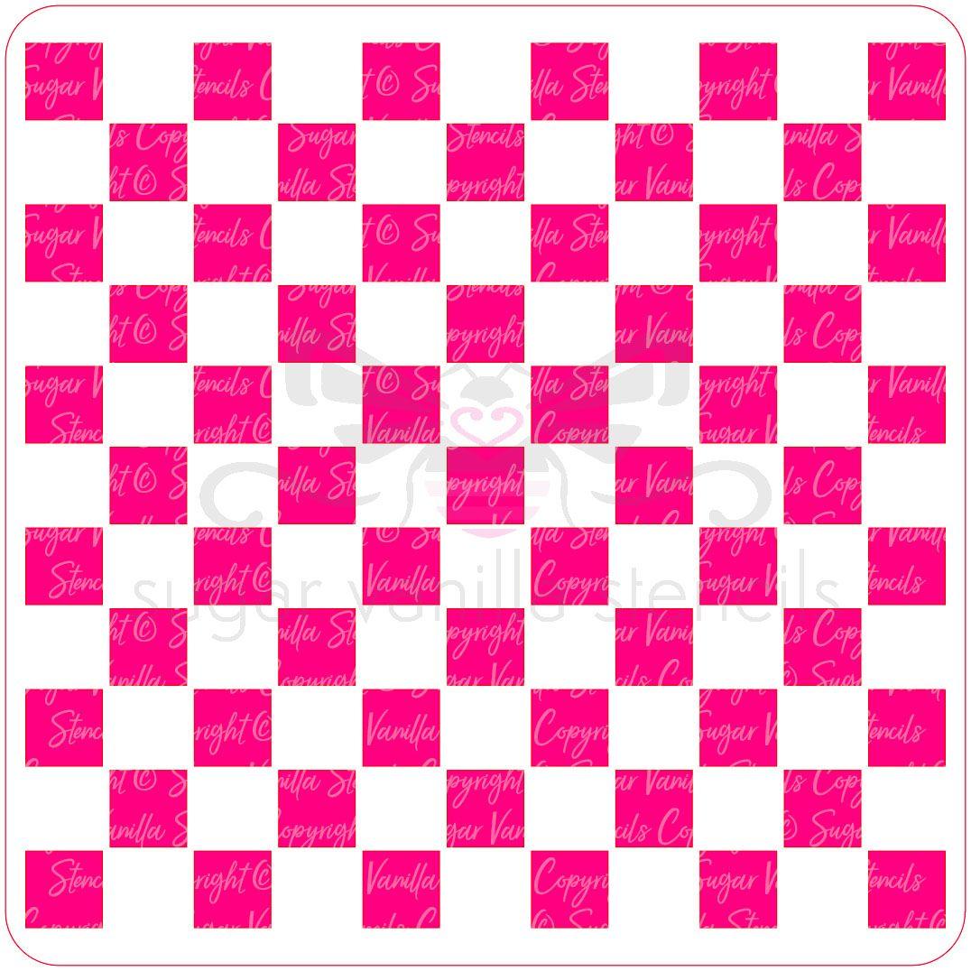 Checkerboard Squares (Medium) Cupcake Stencil