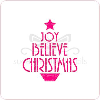 Believe Christmas Tree Cupcake Stencil