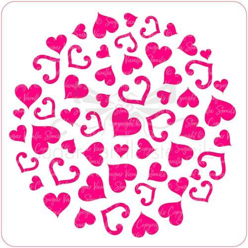 Hearts & Hearts Cupcake Stencil