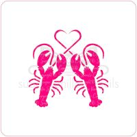 Lobsters Heart Cupcake Stencil