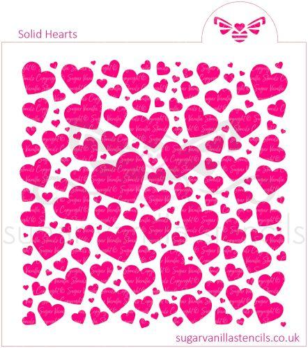 Solid Hearts Cookie Stencil