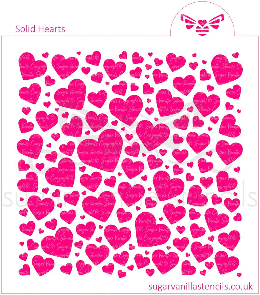Solid Hearts Cookie Stencil