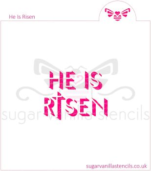 'He Is Risen' Cookie Stencil (with Cross)