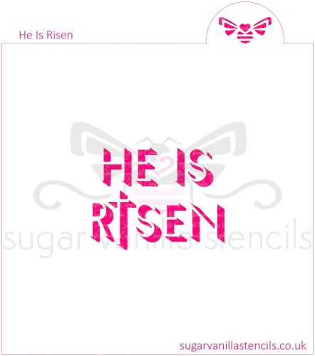 He Is Risen Cookie Stencil (with Cross)