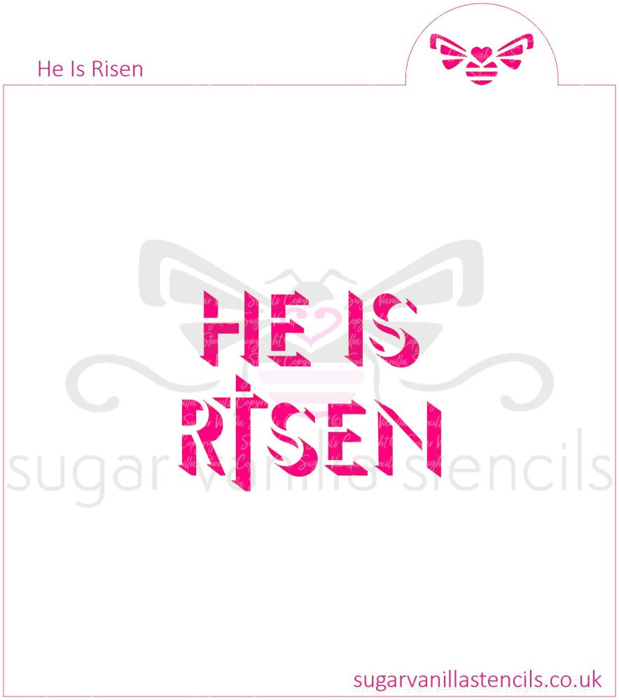 He Is Risen' Cookie Stencil (with Cross)