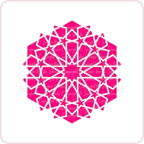 Arabic Geometric Pattern Cupcake Stencil