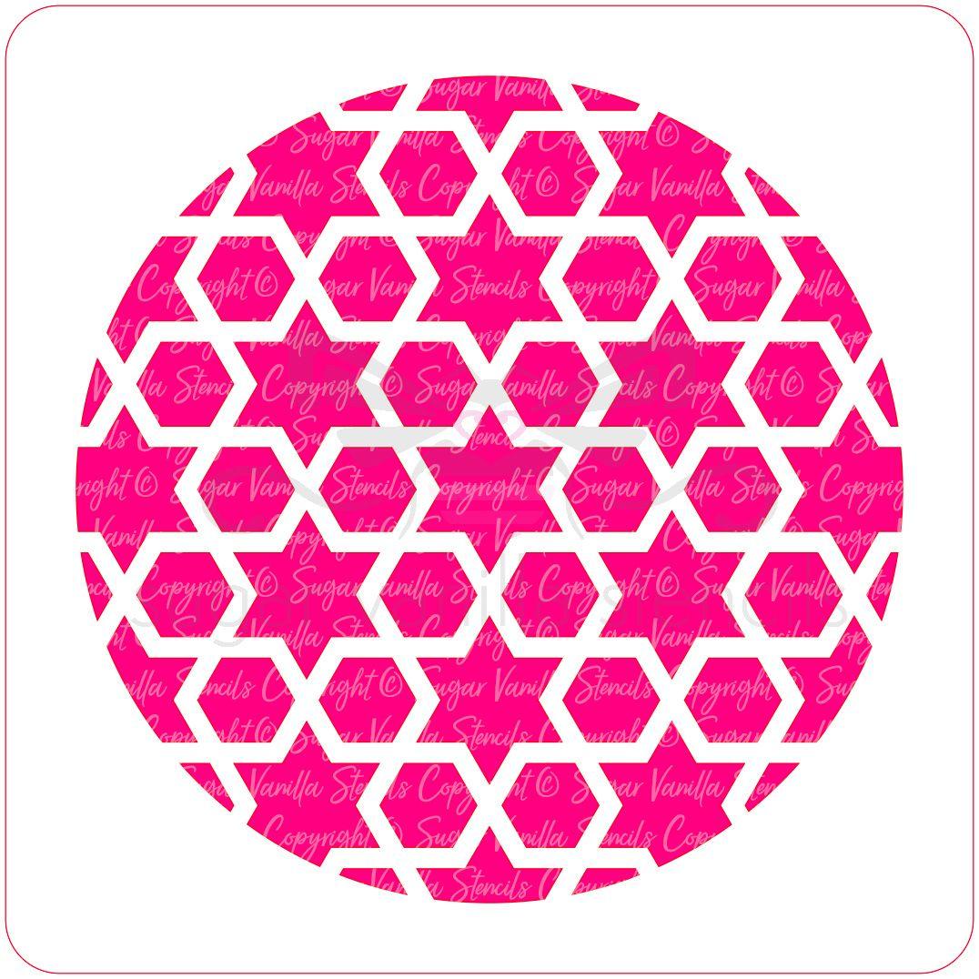 Arabic Geometric Cupcake Stencil (Star & Hexagon)