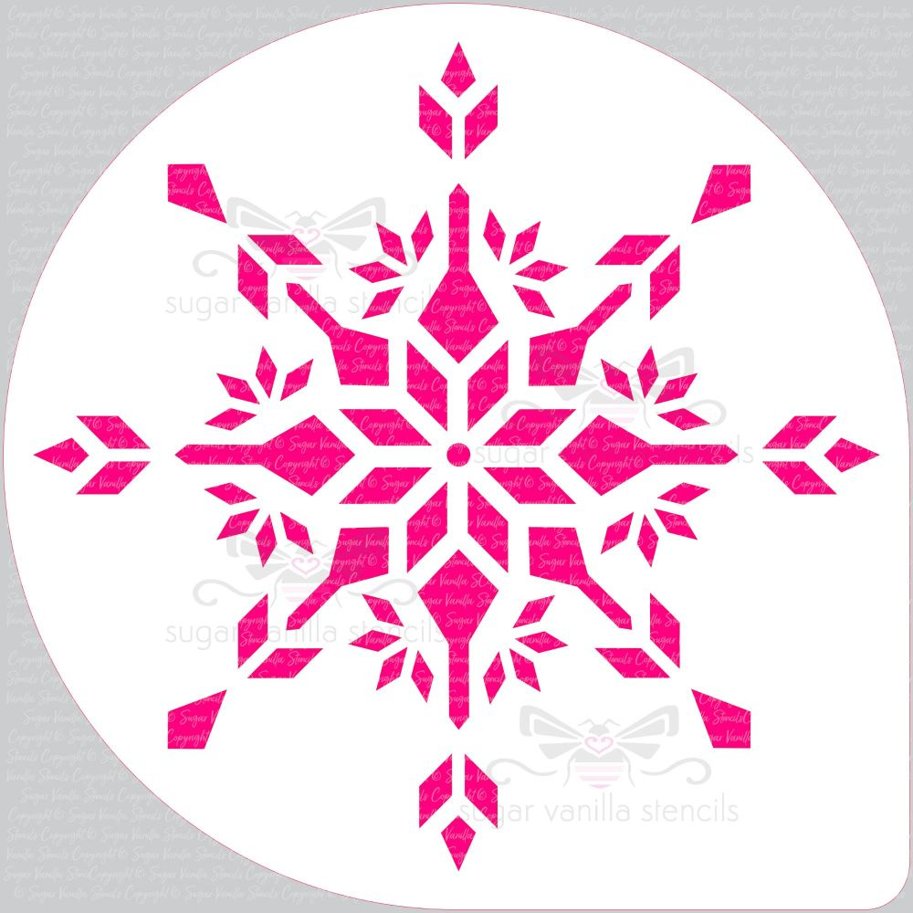"Snowflake - Crystal -  Cake Top Stencil (8"" large)"