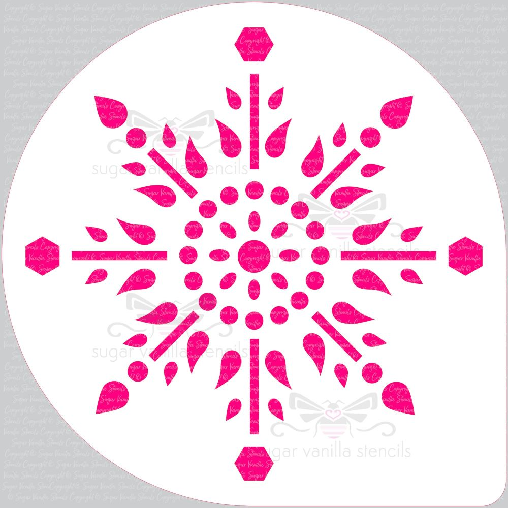 Jewel Snowflake Cake Top Stencil (8
