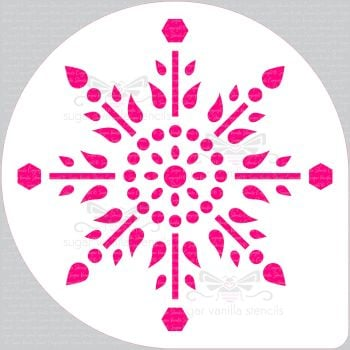 "Jewel Snowflake Cake Top Stencil (8"" large)"