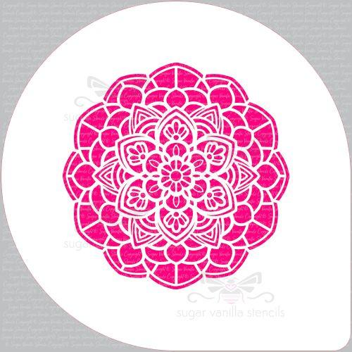 Mandala Flower Cupcake Board Stencil