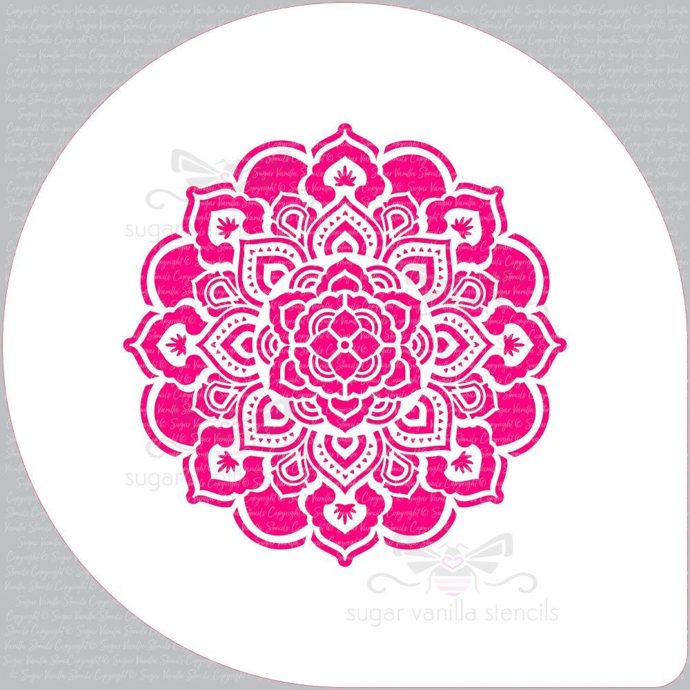 Mandala Rosette Cupcake Board Stencil