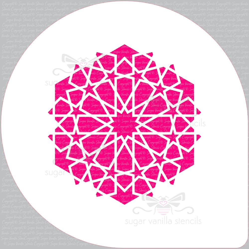 "Arabic 12 Star Pattern Cupcake Board Stencil (5.5"" design)"
