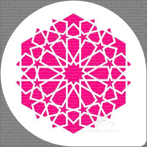 Arabic 12 Star Pattern Cake Top Stencil (7