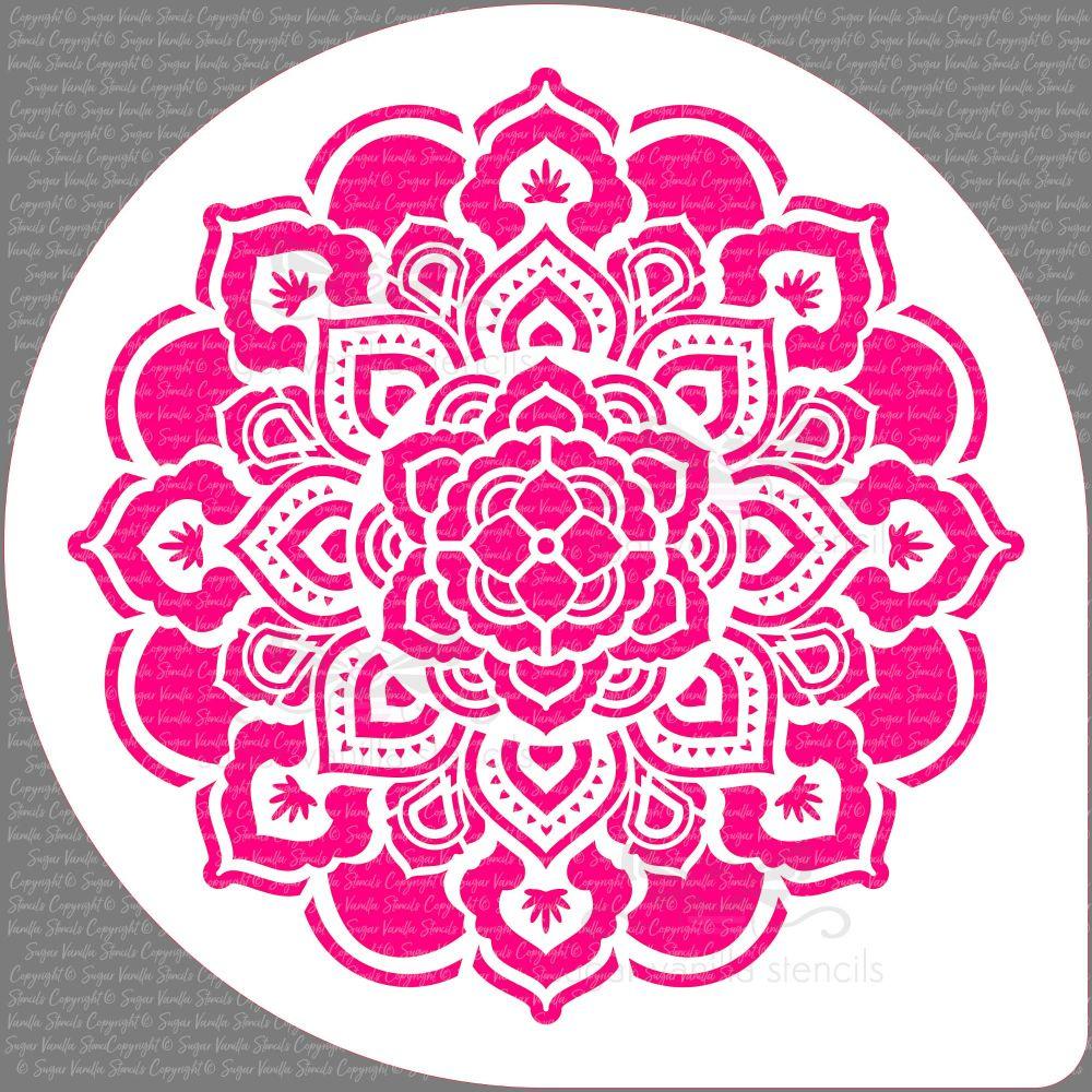 """Mandala Rosette Cake Top Stencil (7.5"""" design)"""