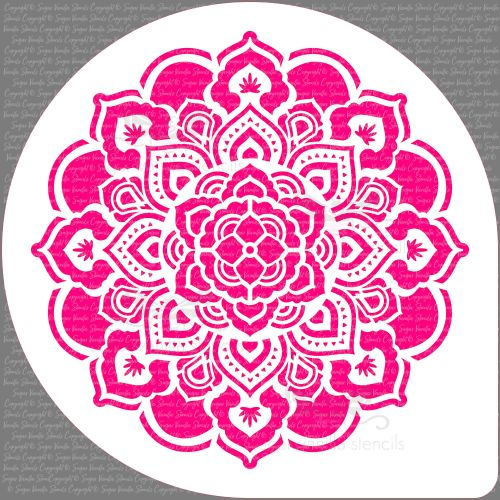 Mandala Rosette Cupcake Board Stencil (7.5