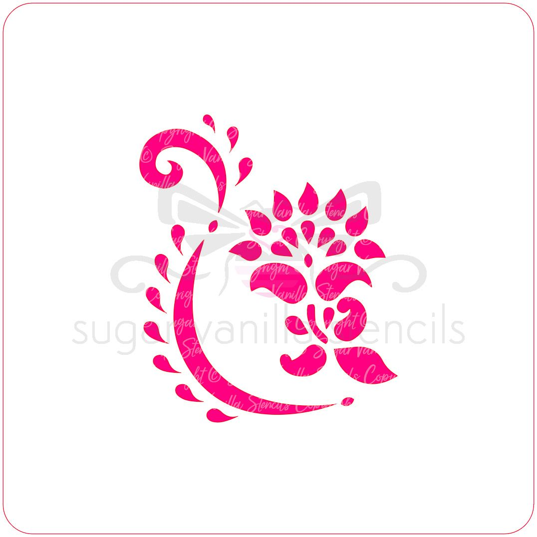 Mehndi Flower Cupcake Stencil