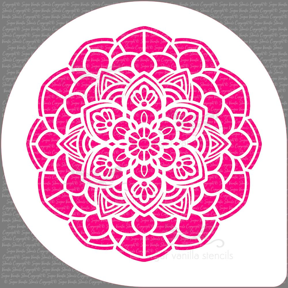 "Mandala Flower Cake Top Stencil (7"" design)"