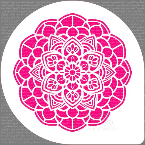 Mandala Flower Cake Top Stencil (7