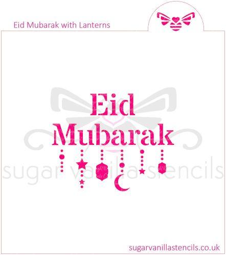 Eid Mubarak with Lanterns Cookie Stencil