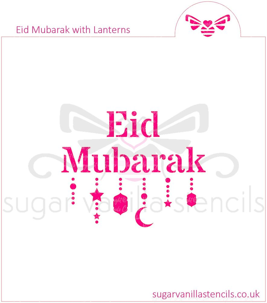 Eid Mubarak with Lanterns Cookie Stencil