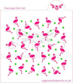 Flamingo Dot Cookie Stencil Set