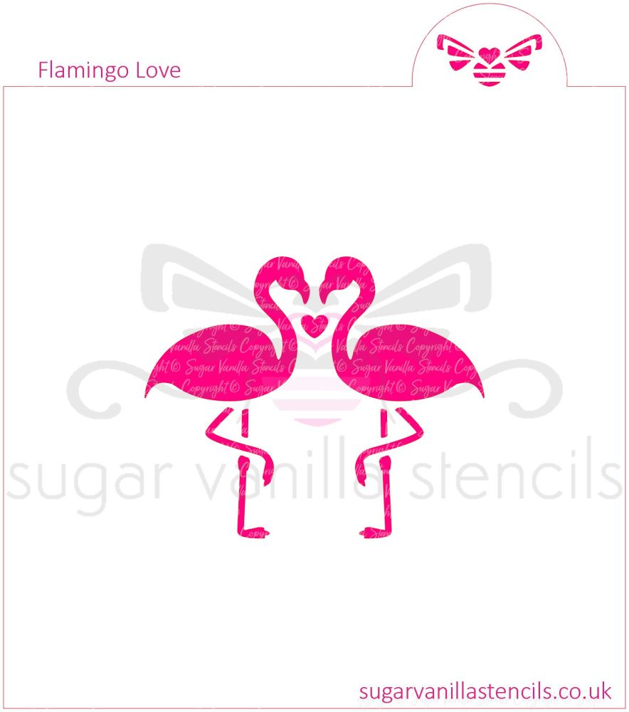 "Flamingo Love Cookie Stencil (2.5"" high)"