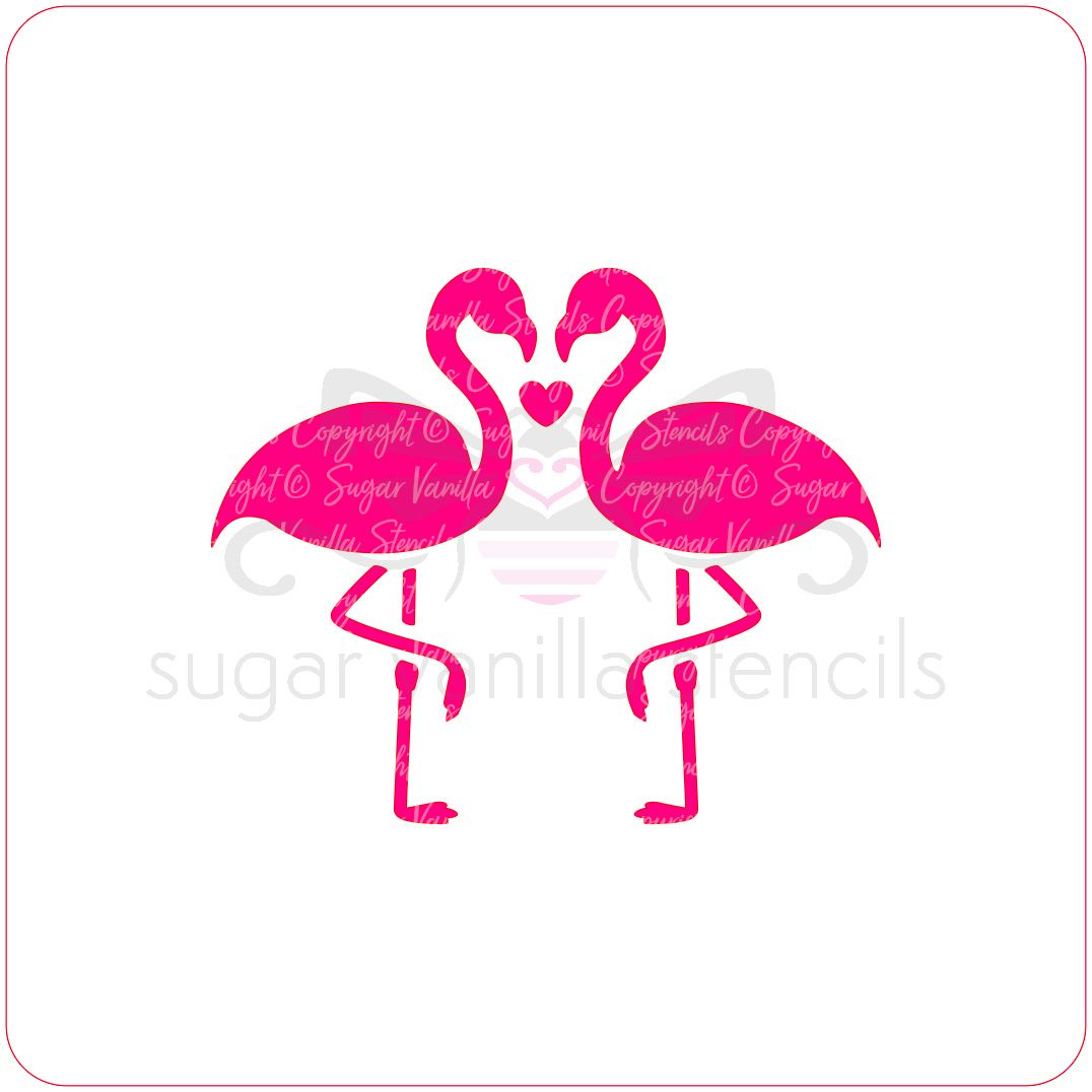 Flamingo Love Cupcake Stencil