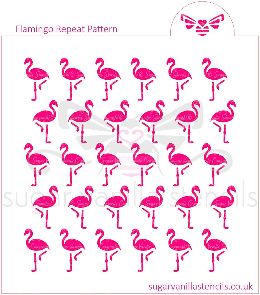 Flamingo Repeat Pattern Cookie Stencil